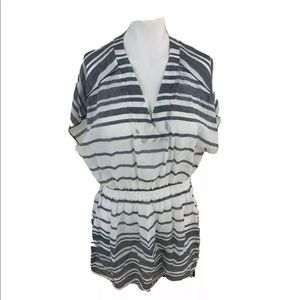 Athleta Womens Swim Cover Up Blue White Stripe